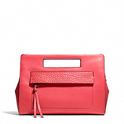 BLEECKER LEATHER  POCKET CLUTCH - f51194 - SILVER/LOVE RED