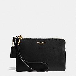 COACH F51197 Saffiano Small Wristlet In Leather  BRASS/BLACK