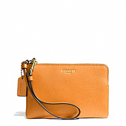 COACH F51197 Saffiano Leather Small Wristlet LIGHT GOLD/BRIGHT MANDARIN
