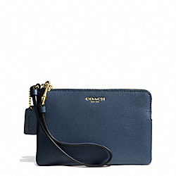 COACH F51197 Saffiano Leather Small Wristlet LIGHT GOLD/NAVY