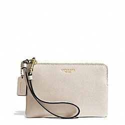 COACH F51197 Saffiano Leather Small Wristlet LIGHT GOLD/PARCHMENT
