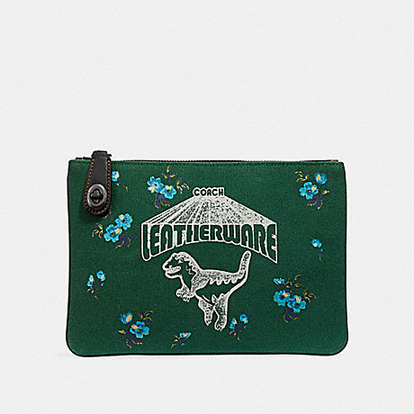 COACH F51227 TURNLOCK POUCH 26 WITH REXY V5/GREEN