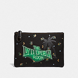 COACH F51231 Viper Room Turnlock Pouch 26 BLACK/PEWTER