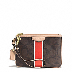 SIGNATURE STRIPE SMALL WRISTLET - f51233 - BRASS/BROWN/VERMILLION
