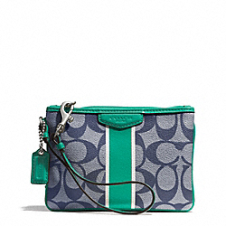 COACH F51233 Signature Stripe Small Wristlet SILVER/NAVY/BRIGHT JADE