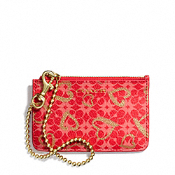 WAVERLY HEART PRINT COATED CANVAS ID SKINNY - f51235 - BRASS/LOVE RED MULTICOLOR