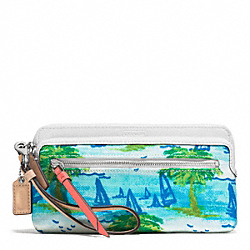 COACH F51240 Resort Palm Tree Double Zip Wallet SILVER/BLUE MULTI