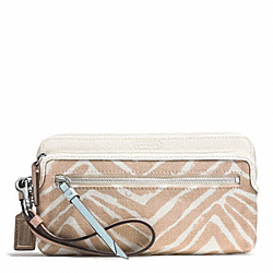 COACH F51241 Resort Zebra Print Double Zip Wallet SILVER/NATURAL MULTI
