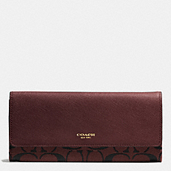 COACH F51242 Soft Wallet In Signature  GOLD/BRICK