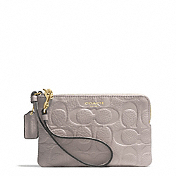 COACH F51244 Bleecker Logo Embossed Small Wristlet GOLD/GREY BIRCH