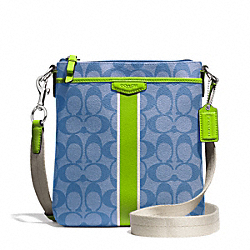 COACH F51265 - SIGNATURE STRIPE SWINGPACK SILVER/BLUE/GREEN