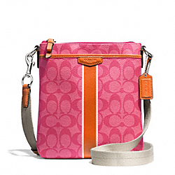 COACH F51265 - SIGNATURE STRIPE SWINGPACK SILVER/PINK/ORANGE