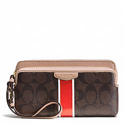 COACH F51266 Signature Stripe Double Zip Wallet BRASS/BROWN/VERMILLION