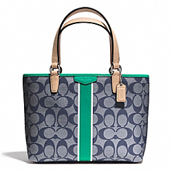 COACH F51267 Signature Stripe Top Handle Tote SILVER/NAVY/BRIGHT JADE