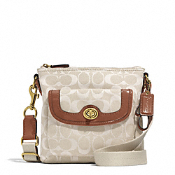 COACH F51276 - CAMPBELL SIGNATURE TWILL SWINGPACK BRASS/PARCHMENT/SADDLE