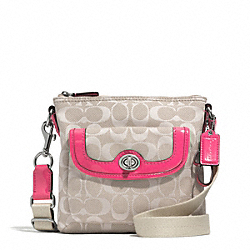 COACH F51276 - CAMPBELL SIGNATURE TWILL SWINGPACK SILVER/KHAKI/POMEGRANATE