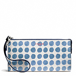 COACH F51291 Bleecker Painted Dot Coated Canvas Zippy Wallet SILVER/BLUE MULTI