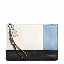 COACH F51299 Black Colorblock Canvas Leather Flat Zip Case SILVER/NATURAL/WASHED OXFORD