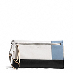 COACH F51304 Bleecker Colorblock Large Leather Clutch SILVER/NATURAL/WASHED OXFORD