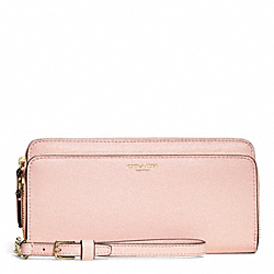 COACH F51305 Double Saffiano Leather Accordion Zip Wallet LIGHT GOLD/PEACH ROSE