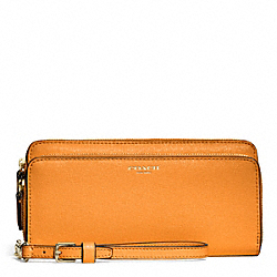 COACH DOUBLE SAFFIANO LEATHER ACCORDION ZIP WALLET - LIGHT GOLD/BRIGHT MANDARIN - F51305