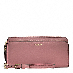 COACH F51305 Double Saffiano Leather Accordion Zip Wallet LIGHT GOLD/ROUGE