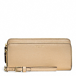 COACH F51305 Double Accordion Zip Wallet In Saffiano Leather  LIGHT GOLD/TAN