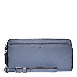 COACH F51305 Double Accordion Zip Wallet In Saffiano Leather SILVER/CORNFLOWER