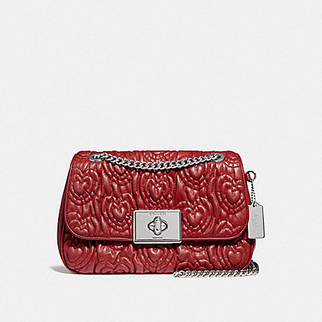 COACH F51333 CASSIDY CROSSBODY WITH HEART QUILTING<br>蔻驰CASSIDY包包用心缝制 红宝石,银色
