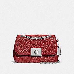 CASSIDY CROSSBODY WITH HEART QUILTING - F51333 - RUBY/SILVER
