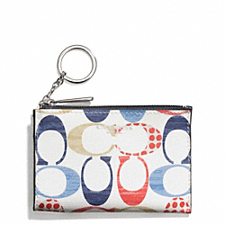COACH F51342 Bleecker Mini Skinny In Multi C Print Coated Canvas SILVER/MULTICOLOR