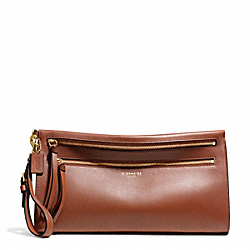COACH F51360 Bleecker Leather Large Clutch BRASS/COGNAC