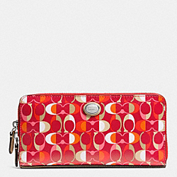 COACH F51363 Peyton Dream C Accordion Zip Wallet SILVER/VERMILLION MULIGHTICOLOR