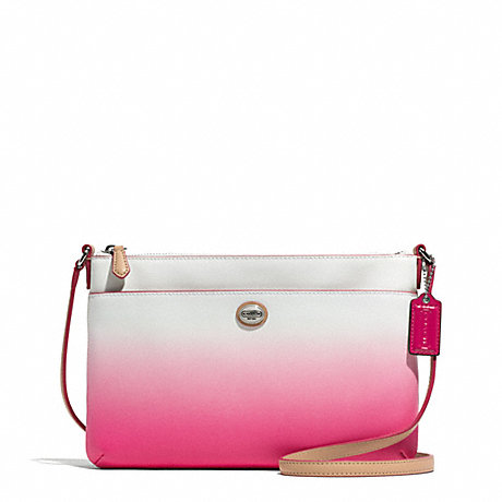 COACH F51381 PEYTON OMBRE BRINN EAST/WEST SWINGPACK SILVER/POMEGRANATE