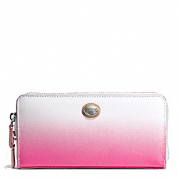 COACH F51382 Peyton Ombre Accordion Zip Wallet SILVER/POMEGRANATE