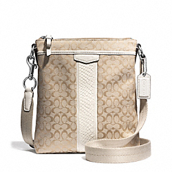 COACH F51387 - SIGNATURE STRIPE SNAKE NORTH/SOUTH SWINGPACK ONE-COLOR