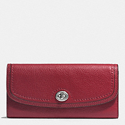 COACH F51393 Park Leather Turnlock Slim Envelope Wallet SILVER/CRIMSON