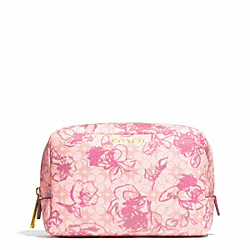 COACH F51395 Waverly Floral Coated Canvas Boxy Cosmetic Case BRASS/PINK