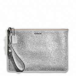 COACH F51397 Bleecker Metallic Crackle Canvas Flat Zip Case SILVER/WHITE