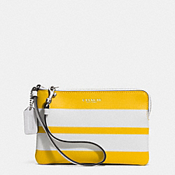 COACH BLEECKER STRIPED COATED CANVAS L-ZIP SMALL WRISTLET - SILVER/SUNGLOW WHITE - F51402