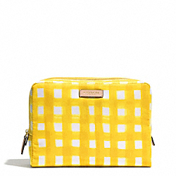 COACH BLEECKER GINGHAM NYLON LARGE BOXY COSMETIC CASE - BRASS/SUNGLOW - F51417