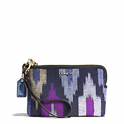 COACH F51418 Madison Ikat Print Canvas L-zip Small Wristlet LIGHT GOLD/BLUE MULTI