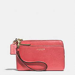 COACH F51441 Double L-zip Wristlet In Saffiano Leather LIGHT GOLD/LOGANBERRY