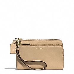 COACH F51441 Double L-zip Wristlet In Saffiano Leather LIGHT GOLD/TAN