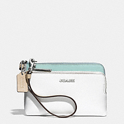 COACH F51444 Double L-zip Wristlet In Colorblock Mixed Leather  SILVER/WHITE MULTICOLOR