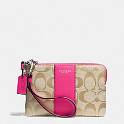 COACH F51450 Zip Small Wristlet In Signature Fabric  SILVER/LIGHT GOLD/ LIGHT KHAKI/PINK RUBY