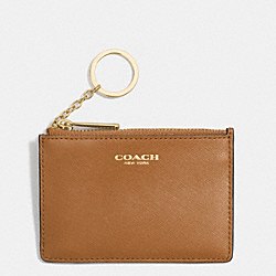 COACH F51452 Saffiano Leather Mini Skinny LIGHT GOLD/BURNT CAMEL
