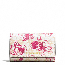 COACH F51457 Waveryl Sketchy Floral 6 Ring Key Case BRASS/PINK RUBY