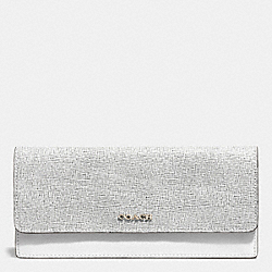 COACH F51475 Colorblock Mixed Leather Soft Wallet  SILVER/BLACK MULTI