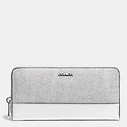 COACH F51478 Accordion Zip Wallet In Colorblock Mixed Leather SILVER/BLACK MULTI